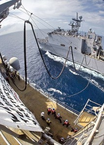 USS Essex (LHD 2) in refueling drill at sea